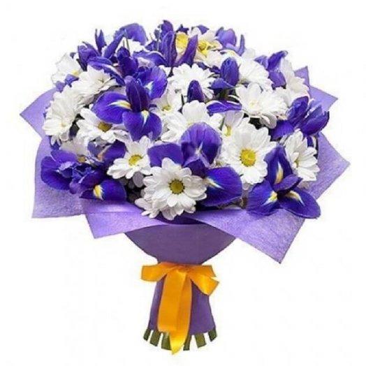 Хризантема с Ирисом: букеты цветов на заказ Flowwow