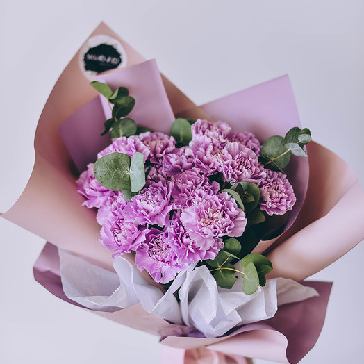 Гвоздики и эвкалипт: букеты цветов на заказ Flowwow