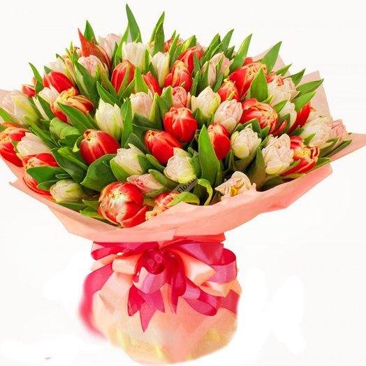 Букет из 81 тюльпана: букеты цветов на заказ Flowwow