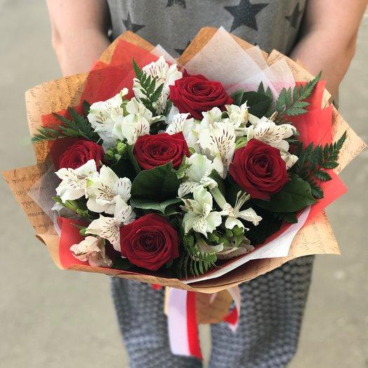 Альстрамерия. Роза. N148: букеты цветов на заказ Flowwow