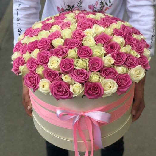 Коробка XXL из 101 белой и розовой розы. N194