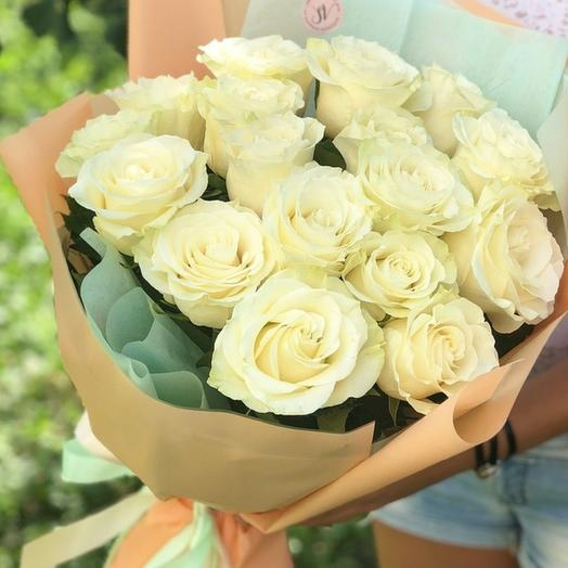 Мятная карамель - Букет из белых роз