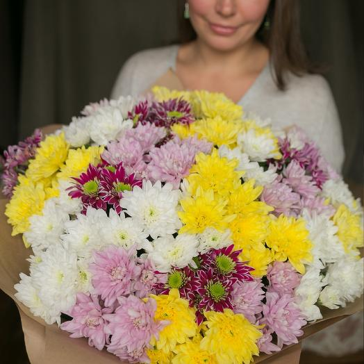 Микс из 25 хризантем: букеты цветов на заказ Flowwow