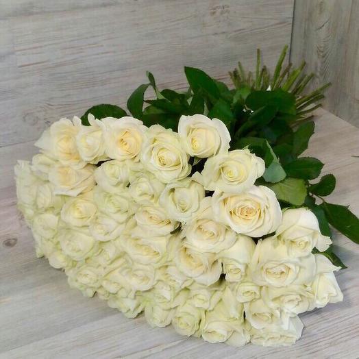 Белая Роза 51 шт: букеты цветов на заказ Flowwow