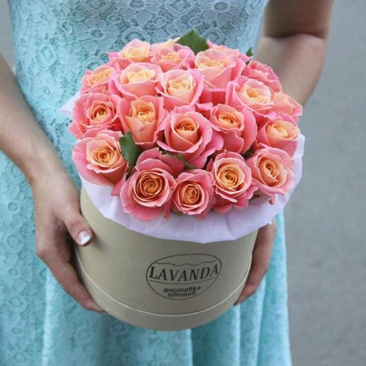 Букет роз Miss Piggy в шляпной коробке