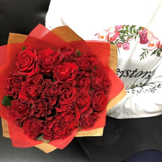 Букет из Алых  роз эльторо 19 шт. N 323: букеты цветов на заказ Flowwow