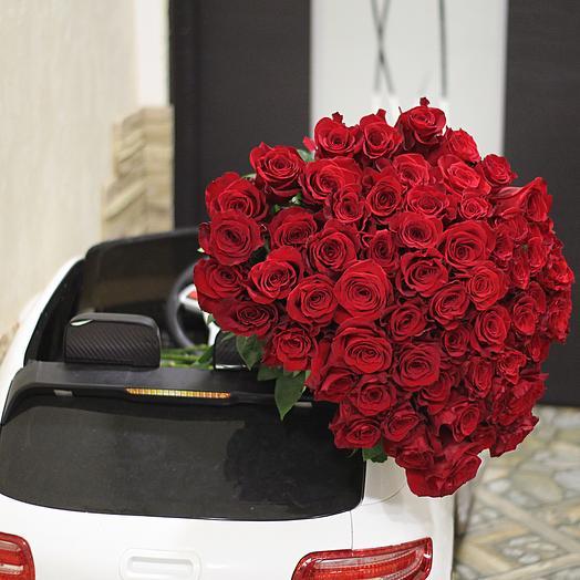 71 эквадорская роза длинной 70 см: букеты цветов на заказ Flowwow