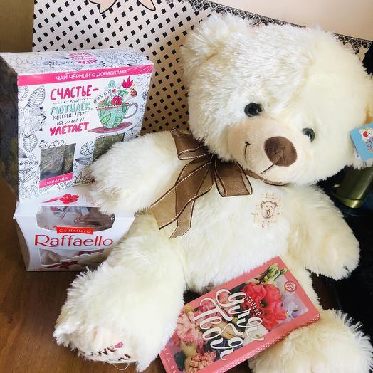 Мишка с подарками: букеты цветов на заказ Flowwow
