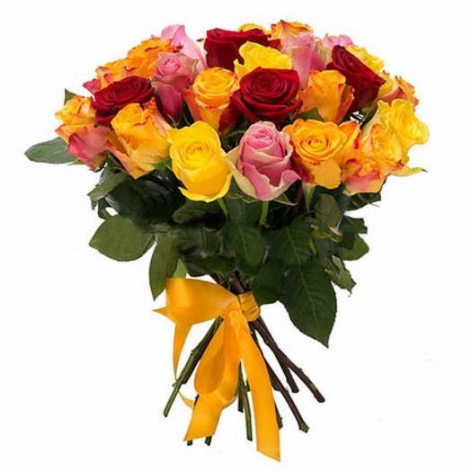 Букет из 25 роз Кения Микс 40 см