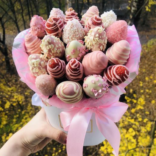 Клубничный мейсон: букеты цветов на заказ Flowwow