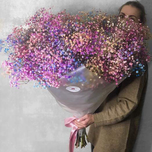 Большой букет из радужной гипсофилы: букеты цветов на заказ Flowwow