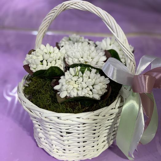Корзинка с подснежниками: букеты цветов на заказ Flowwow