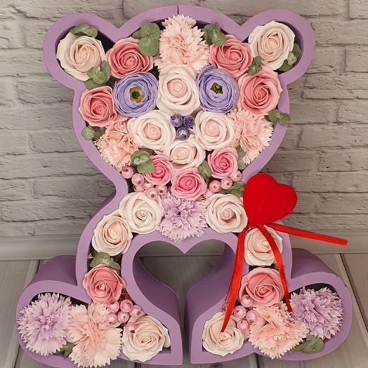 Авторская композиция в форме львенка или мишки из мыльных цветов: букеты цветов на заказ Flowwow