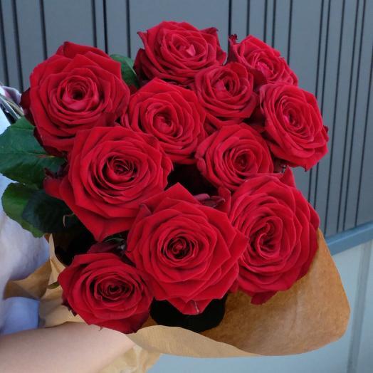 11 Red Roses 60cm in kraft paper