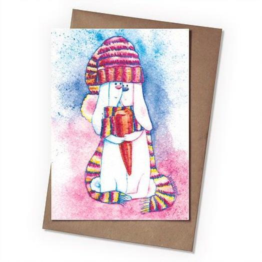 Поздравительная открытка Зайки