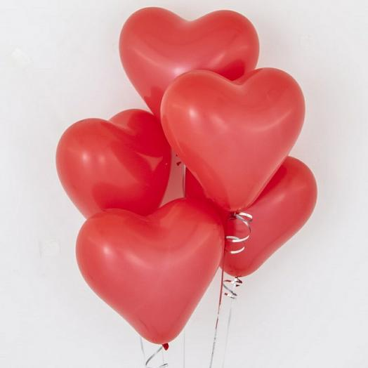 5 гелиевых сердец