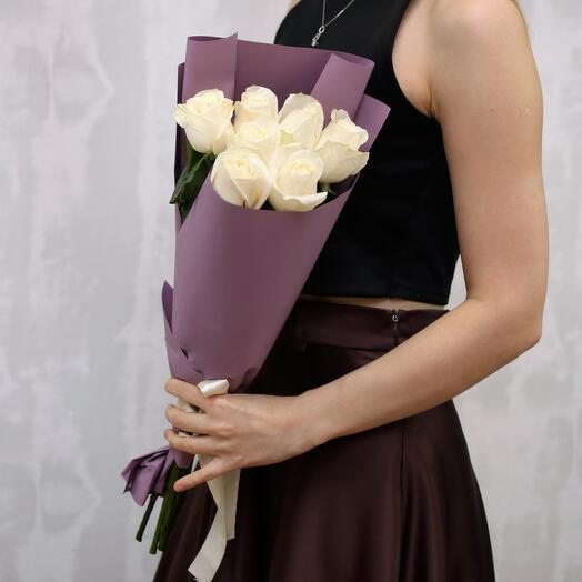 Букет из 7 белых роз 40-50 см (Эквадор)