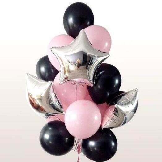 """Набор шаров """" чёрно-розовый"""""""