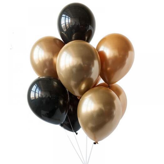 """Набор гелиевых шаров """"чёрное золото"""" 9 штук"""