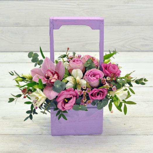 Wood box Жан Поль: букеты цветов на заказ Flowwow