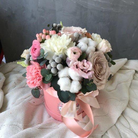 Шляпная коробка с хлопком: букеты цветов на заказ Flowwow
