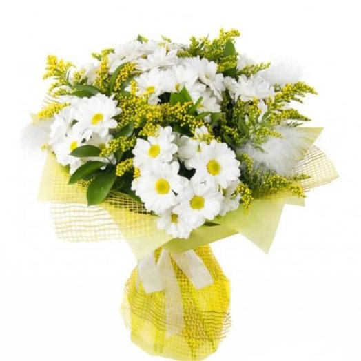Хризантема пышная с Солидаго: букеты цветов на заказ Flowwow