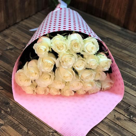 Букет из 25-ти белых роз: букеты цветов на заказ Flowwow