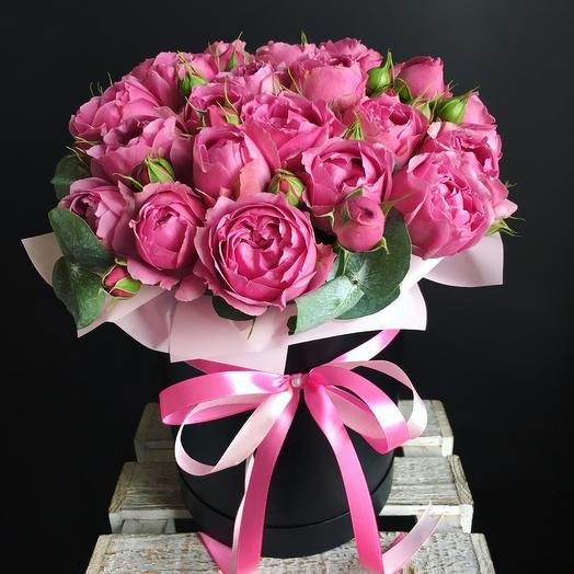 Коробочка с пионовибными розами: букеты цветов на заказ Flowwow