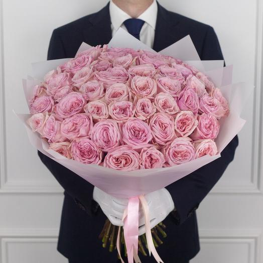 Букет из 51 ароматной пионовидной розы Pink O Hara