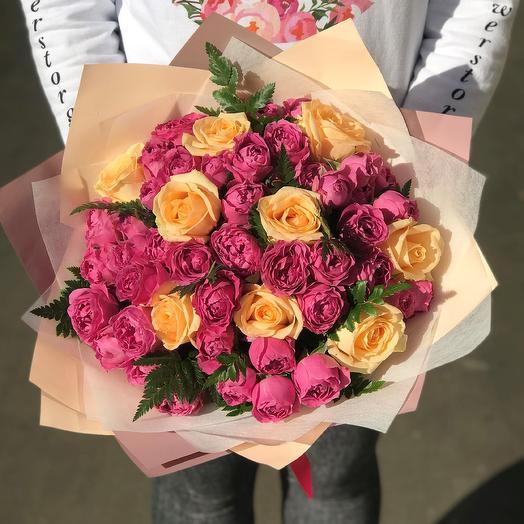 Розы. Пионовидная кустовая роза.  Кремовая  роза. N267: букеты цветов на заказ Flowwow