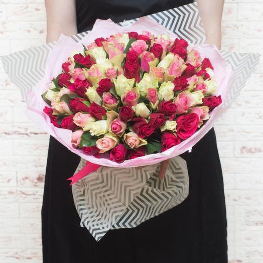 Букет из 101 кенийской розы: букеты цветов на заказ Flowwow