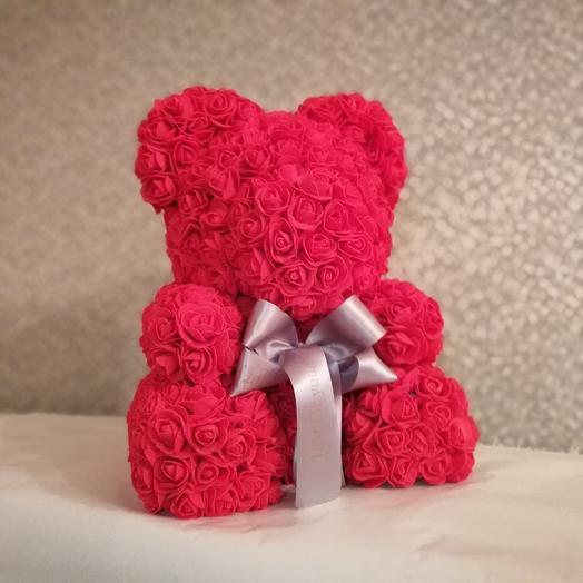 Мишка из фоамирановых розочек по супер цене: букеты цветов на заказ Flowwow