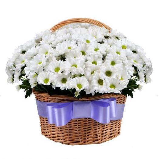 Большая корзина хризантем: букеты цветов на заказ Flowwow