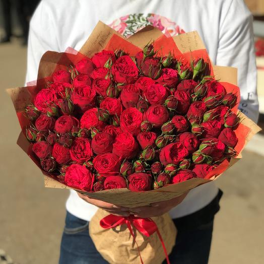 Букет из красных пионовидных роз Ред Пиано (51 шт). N614