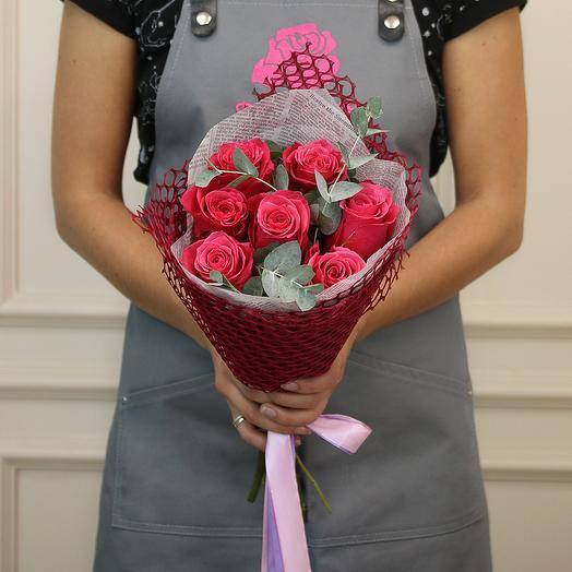 Букет из 7 малиновых роз премиум: букеты цветов на заказ Flowwow