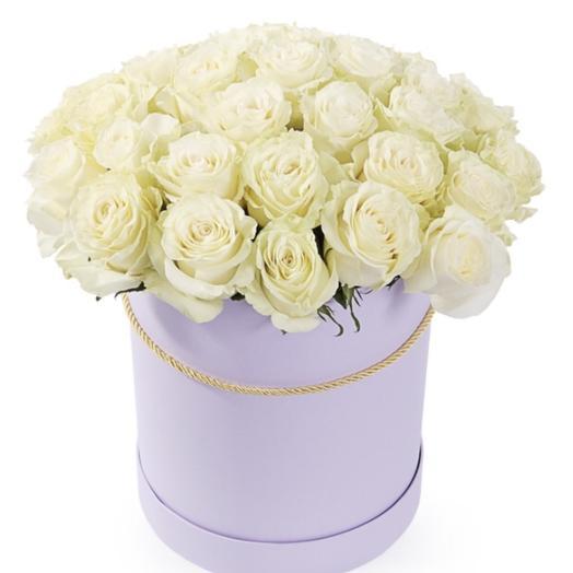 Коробка из белой розы