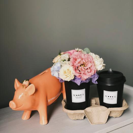 Набор кофе и цветы