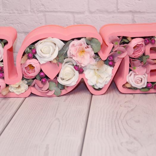Композиция LOVE розовое: букеты цветов на заказ Flowwow
