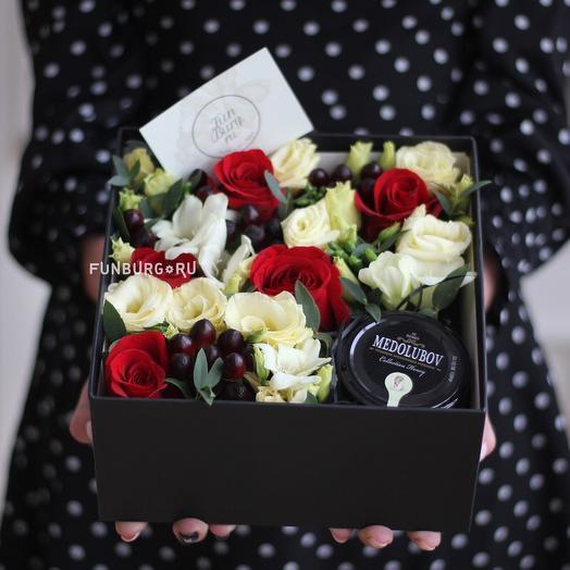 Композиция из цветов с мёдом «Ар-деко»: букеты цветов на заказ Flowwow