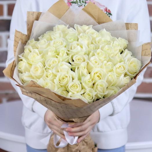 Монобукет. Розы белые. Букет из 51 белых роз. 50 см. N160