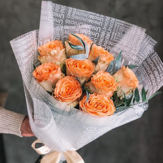 Букет из 9 роз сорта Сountry Home