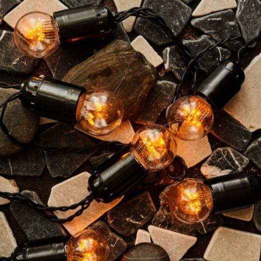 Ретро гирлянда, черный провод, светодиодные лампы, теплый желтый, 3 м