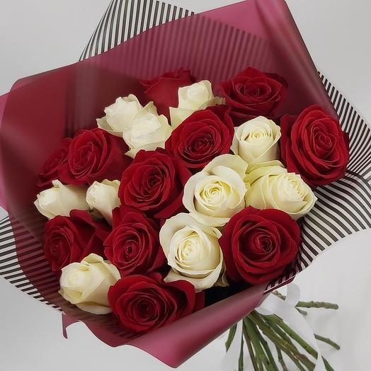 Красное   белое: 21 роза