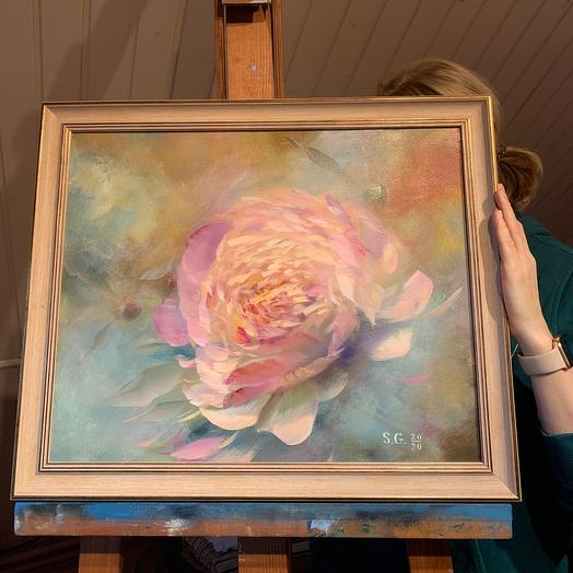 """Painting """" Peony in delicate pollen»"""