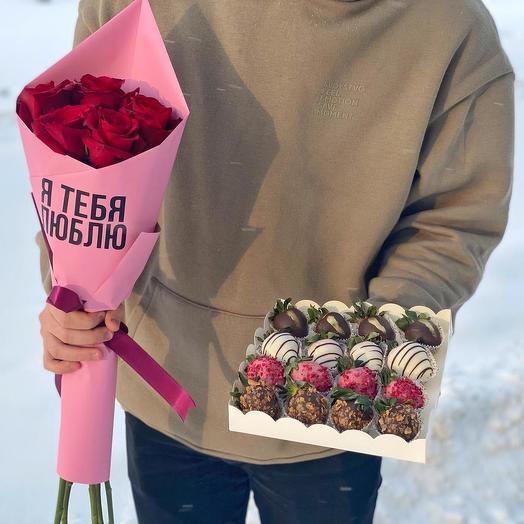 Комбо набор Розы Эквадор и свежая клубничка в шоколаде