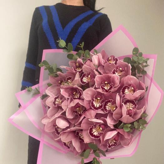 Букет с розовыми орхидеями L