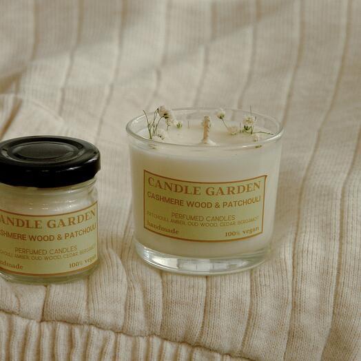Соевая арома свеча Кашемир и пачули, 100 мл