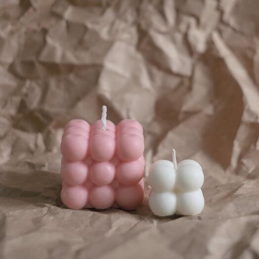 Большая розовая свеча-куб Bubble