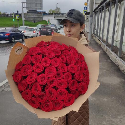 Розы красные 51 штука Эквадор