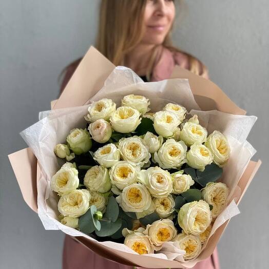 Монобукет «Пионовидные Розы Royal Parks» (9шт)